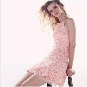 BCBGMaxazria Pink Peach Basanti Rosette Mini Dress